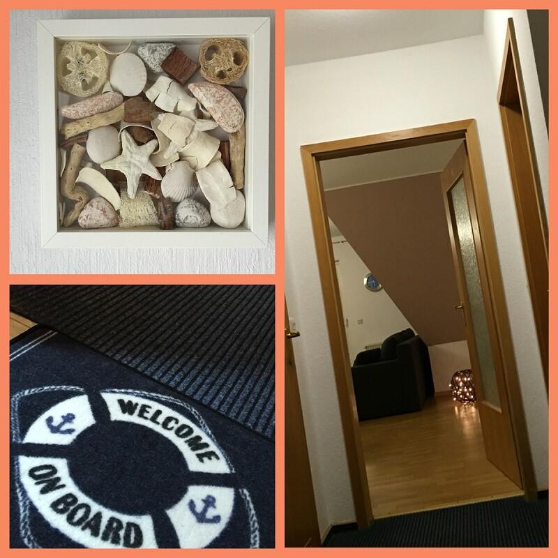 Bilder am Eingang mit Muscheln und Blick in den Flur
