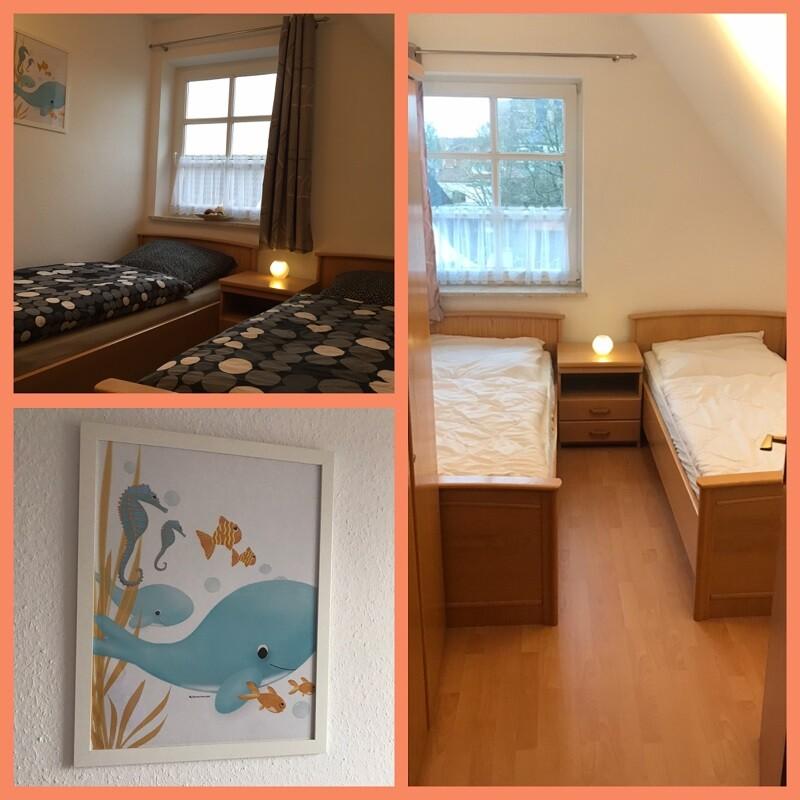 Bilder vom Kinderzimmer, zwei getrennt stehende Betten, ein Nachttisch und ein Wandbild mit Meerestieren